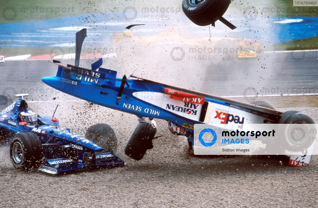Alexander Wurz (AUT) Benetton Playlife B198 has a big crash at the first corner rolling his car. Formula One World Championship, Rd7, Canadian Grand Prix, Montreal, Canada, 7 June 1998.