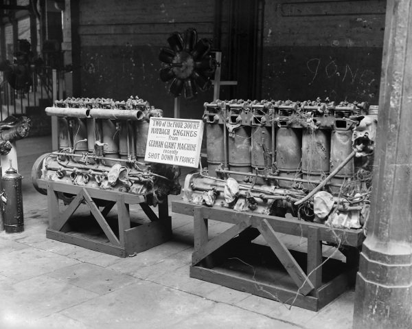 Two Maybach engines from a German aircraft shot down over France, on display in an exhibition of downed enemy aircraft.