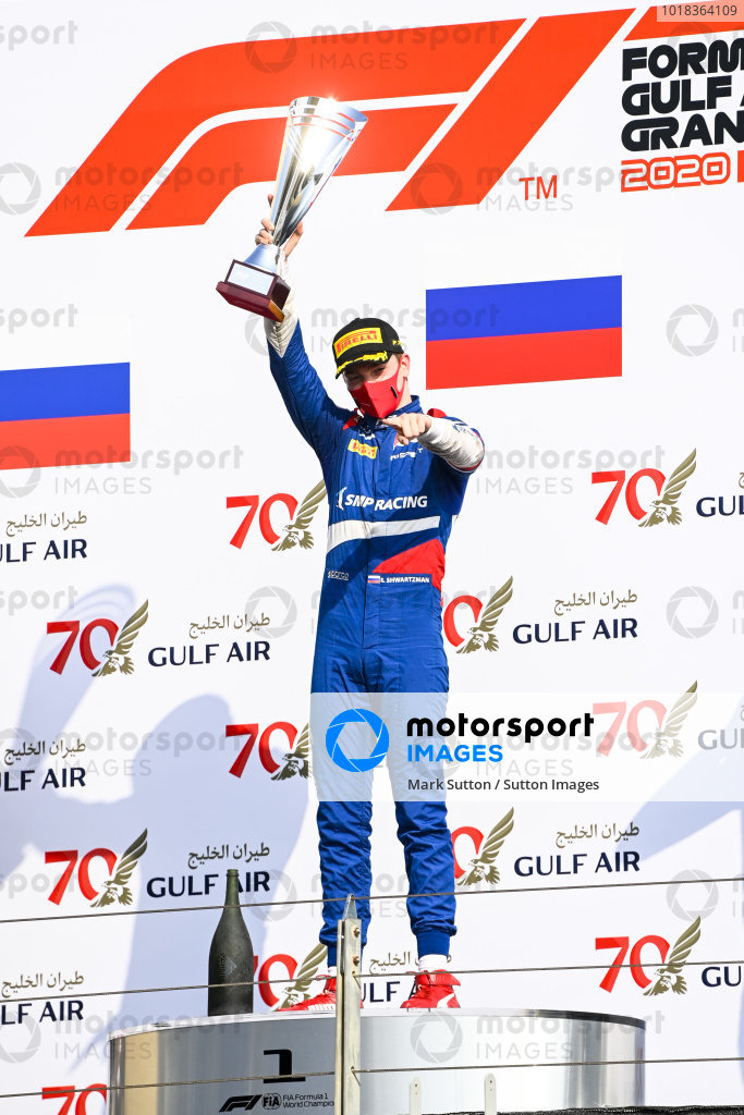 Race Winner Robert Shwartzman (RUS, PREMA RACING) celebrates on the podium with the trophy