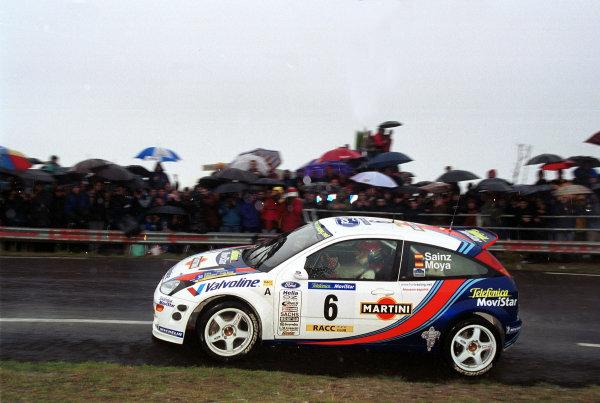 Carlos Sainz in his Ford Focus, Leg 1 Catalunya Rally 2000.Photo:McKlein/LAT