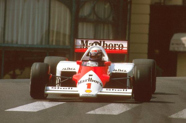 Monte Carlo, Monaco.8-11 May 1986.Alain Prost (McLaren MP4/2C TAG Porsche) 1st position at Casino.Ref-86 MON 10.World Copyright - LAT Photographic