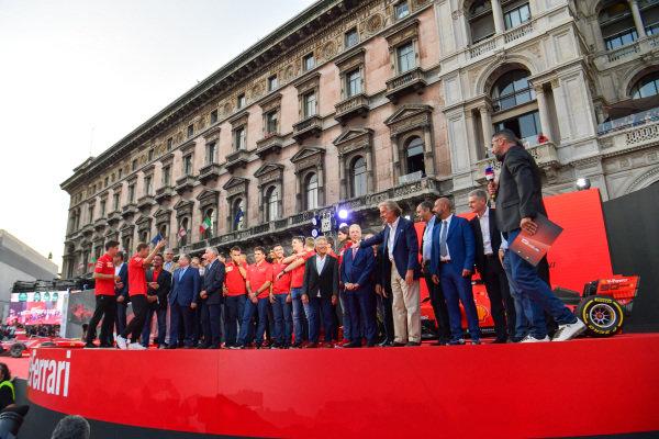 Charles Leclerc, Ferrari and Sebastian Vettel, Ferrari on stage with former Ferrari F1 drivers and team personnel and the Ferrari Academy drivers