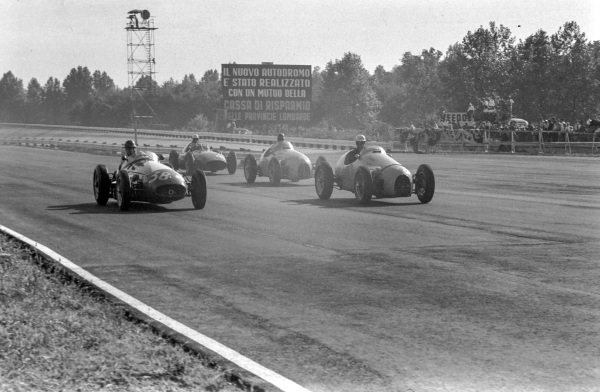 Horace Gould, Maserati 250F leads Jean Lucas, Gordini T32 and Jacques Pollet, Gordini T16.