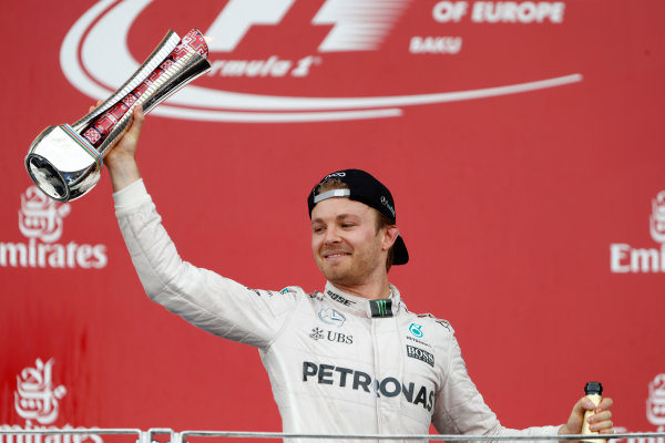 Baku City Circuit, Baku, Azerbaijan. Sunday 19 June 2016. Nico Rosberg, Mercedes AMG, 1st Position, with his trophy. World Copyright: Glenn.Dunbar/LAT Photographic ref: Digital Image _V2I3732