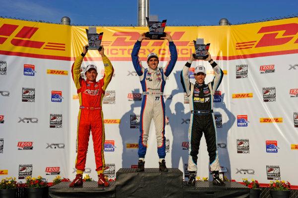 15 June, 2012, West Allis, Wisconsin USAThe Indy Lights Podium, (L to R): Sebastian Saavedra (#27, 2nd), Winner Tristan Vautier (#77) and 3rd place Estaban Guerrieri (#11).(c)2012, F. Peirce WilliamsLAT Photo USA