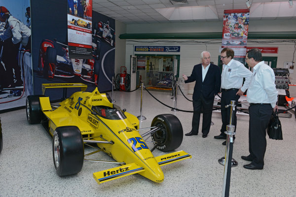 22 March,  2016, Indianapolis, Indiana USA Penske Indy 500 Sponsor Press Conference Roger Penske and John Menard view exhibits in the museum ?2016 Walt Kuhn LAT Photo USA