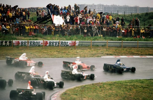 Jody Scheckter (RSA) Tyrrell 007, who started fourth on the grid, made a great start to lead the race in the wet conditions. However Scheckter dropped from third to sixteenth and last position when he blew his engine on the sixty-eighth lap.Dutch Grand Prix, Zandvoort, 22 June 1975.BEST IMAGE