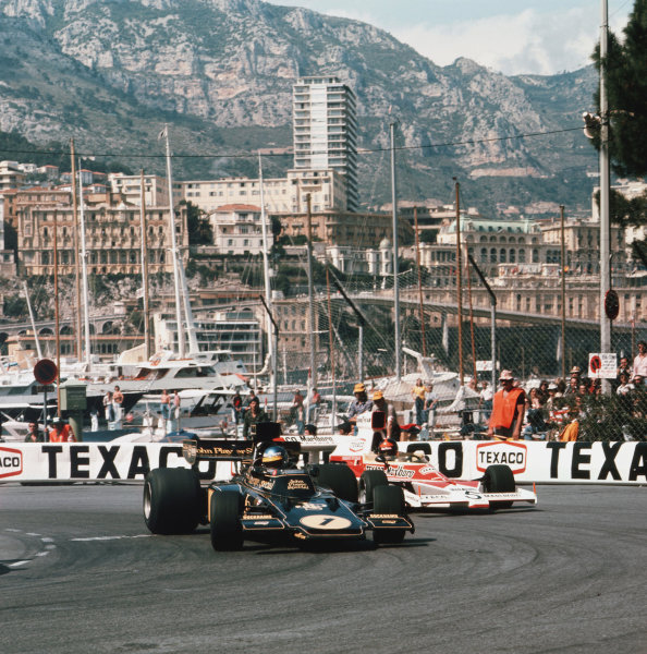 Monte Carlo, Monaco.23rd - 26th May 1974.Ronnie Peterson (Lotus 72E Ford) leads Emerson Fittipaldi (McLaren 23 Ford). They finished in 1st and 5th positions respectively.Ref-3/2118.World Copyright - LAT Photographic