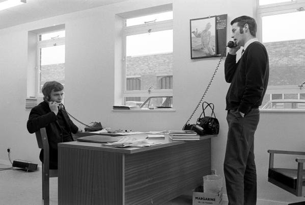 Max Mosley(GBR) left, and Robin Herd(GBR), founding directors of March Engineering, at the March factory , Bicester, Oxfordshire in 1970