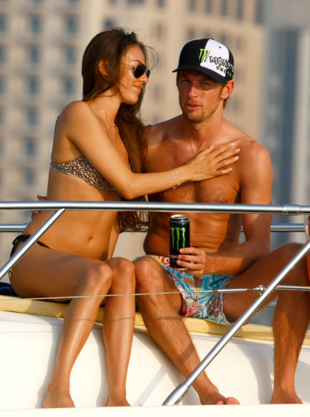 Yas Marina Circuit, Abu Dhabi, United Arab Emirates28th October 2009.Jenson Button and Jessica Michibata are reunited post Jenson winning the Formula One world championship. Spending time together on a cruise around the marina the couple enjoy some much anticipated time to themselves between Jenson's training schedule. Jenson travels to Abu Dhabi later today for the final F1 race of the season.World Copyright: Charles Coates/LAT Photographic ref: Digital Image _26Y5534