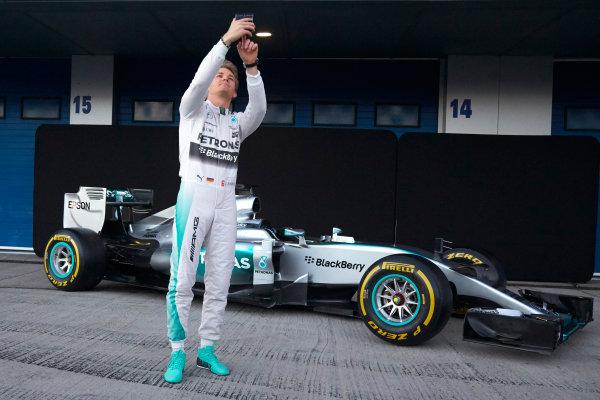 2015 F1 Pre Season Test 1 - Day 1 Circuito de Jerez, Jerez, Spain. Sunday 1 February 2015. Nico Rosberg, Mercedes AMG, takes a selfie at the launch of the Mercedes W06. World Copyright: Steve Etherington/LAT Photographic. ref: Digital Image SNE26175