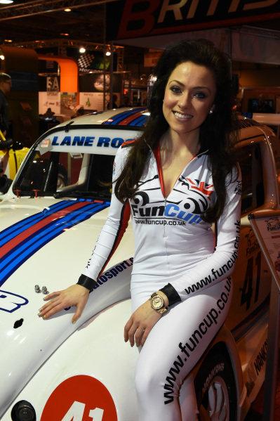 Fun Cup girl. Autosport International Show, NEC, Birmingham, England, 8 January 2015.