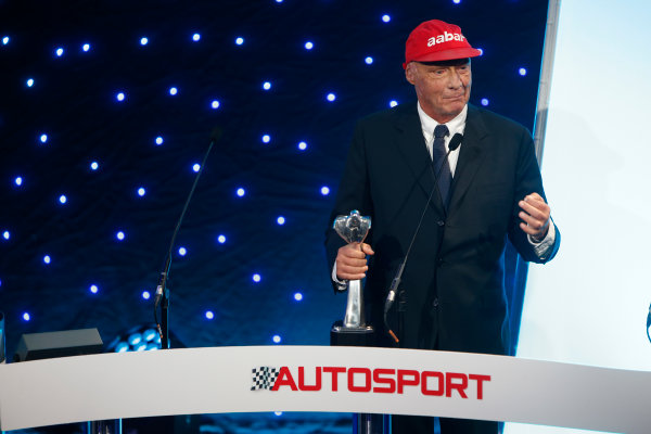 2013 Autosport Awards. Grosvenor House Hotel, Park Lane, London. Sunday 1st December 2013. Niki Lauda, goes on stage to collect his Lifetime Achievement award. World Copyright: Glenn Dunbar/LAT Photographic. ref: Digital Image _89P6563