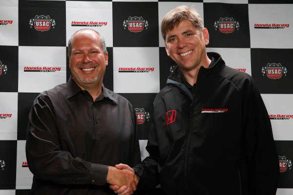 11-24  May, 2013, Indianapolis, Indiana, USA Kevin Miller of USAC and Steve Erickson of HPD announce a major sponsorship, partnership and supply for USAC's 3 midget championships © 2013, Michael L. Levitt LAT Photo USA.