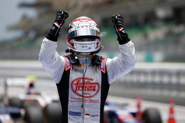 2013 GP2 Series. Round 1.  Sepang, Kuala Lumpur, Malaysia. 24th March 2013.  Sunday Race.  Stefano Coletti (MON, Rapax) celebrates his victory.  World Copyright: Alastair Staley/GP2 Series Media Service.  ref: _89P0552