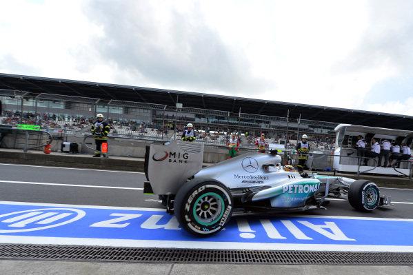 Lewis Hamilton (GBR) Mercedes AMG F1 W04. Formula One World Championship, Rd9, German Grand Prix, Qualifying, Nurburgring, Germany, Saturday 6 July 2013.