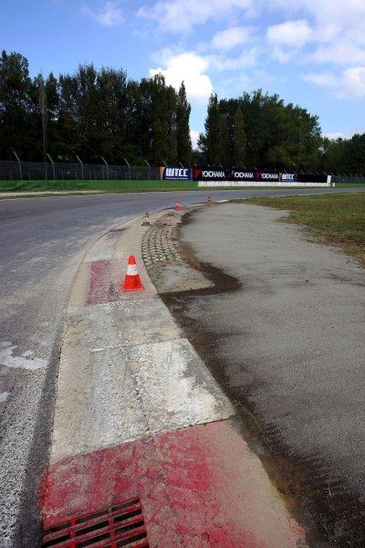 Kerbing at the Tamburello chicane.Imola Track Walk, Imola, San Marino, Thursday 17 September 2009.