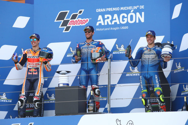 Race winner Alex Rins, Team Suzuki MotoGP, second place Alex Marquez, Repsol Honda Team, third place Joan Mir, Team Suzuki MotoGP.