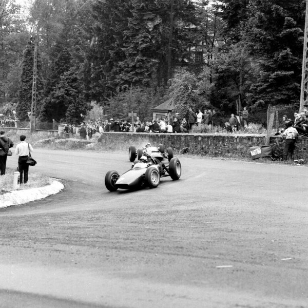 1963 Belgian Grand Prix.Spa-Francorchamps, Belgium.7-9 June 1963.Richie Ginther (BRM P57) leads Chris Amon (Lola Mk4A Climax). Ginther finished in 4th position.Ref-19254.World Copyright - LAT Photographic