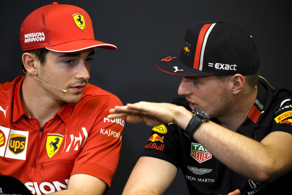 Charles Leclerc, Ferrari and Max Verstappen, Red Bull Racing in Press Conference