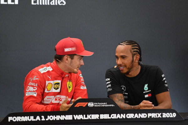 Pole man Charles Leclerc, Ferrari, and Lewis Hamilton, Mercedes AMG F1, in the Press Conference