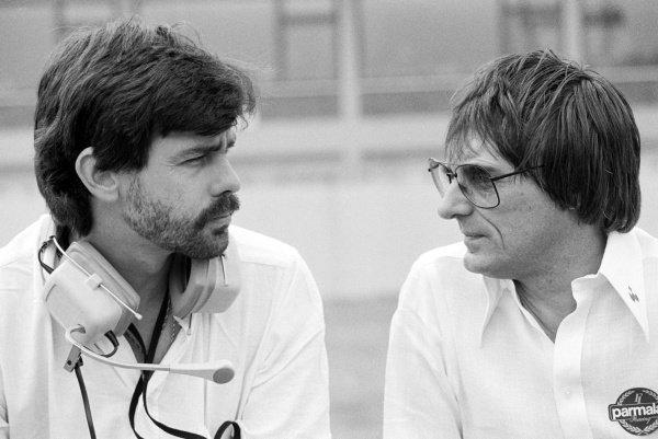(L to R): Gordon Murray (RSA) Brabham Designer talks with Bernie Ecclestone (GBR) Brabham Team Owner / FOCA Chief Executive. Formula One World Championship, German Grand Prix, Rd9, Hockenheim, 10 August 1980.