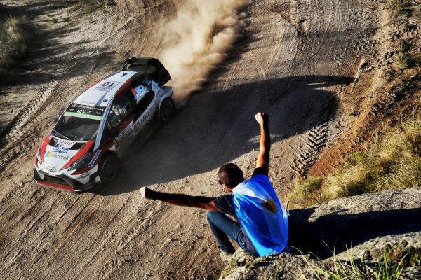 Jari-Matti Latvala (FIN) / Miikka Anttila (FIN), Toyota Gazoo Racing Toyota Yaris WRC and fans at World Rally Championship, Rd5, Rally Argentina, Day Two, Villa Carlos Paz, Cordoba, Argentina, 29 April 2017.