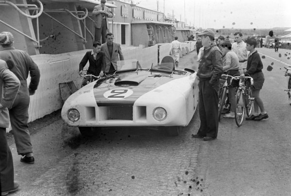 "Briggs Cunningham / Phil Walthers' Cadillac Spider ""Le Monstre"", in the pits."