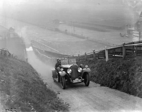 Mercedes on Brooklands test hill.