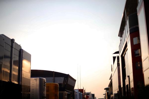 Hungaroring, Budapest, Hungary. Friday 24 July 2015. Sunrise in the paddock. World Copyright: Charles Coates/LAT Photographic ref: Digital Image _J5R4542