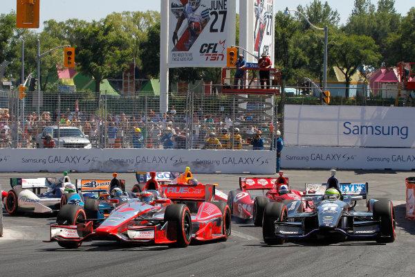 14 July, 2013, Toronto, Ontario CA Sebastien Bourdais and Tony Kanaan at start of race .(c)2013, Todd Davis LAT Photo USA