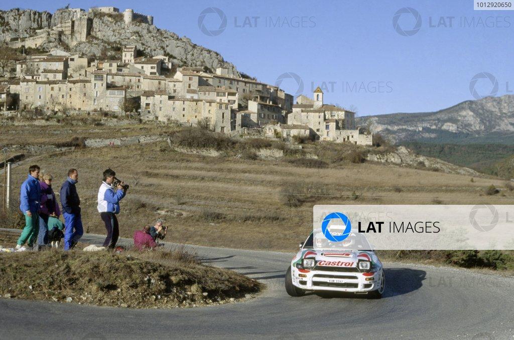 1993 World Rally Championship.Monte Carlo Rally, Monaco. 21-27 January 1993.Didier Auriol/Bernard Occelli (Toyota Celica Turbo 4WD), 1st position.World Copyright: LAT PhotographicRef: 35mm transparency 93RALLY01