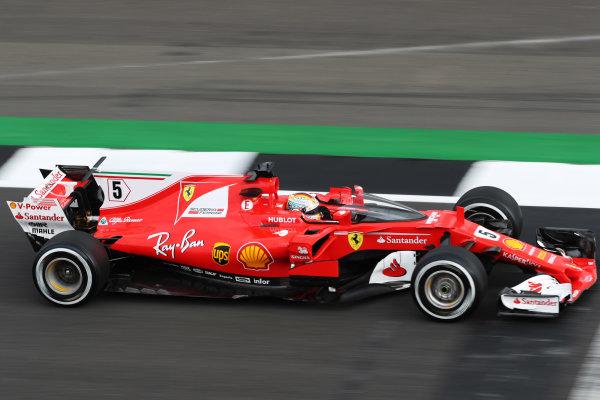 Silverstone, Northamptonshire, UK.  Friday 14 July 2017. Sebastian Vettel, Ferrari SF70H, tests the Shield cockpit protection device. World Copyright: LAT Images  ref: Digital Image MALC4007
