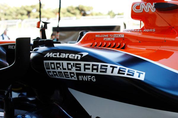 Baku City Circuit, Baku, Azerbaijan. Thursday 22 June 2017. McLaren side-pod detail, promoting the team's World's Fastest Gamer initiative. World Copyright: Steven Tee/LAT Images ref: Digital Image _R3I1391