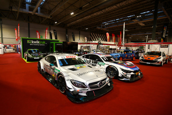 Autosport International Exhibition. National Exhibition Centre, Birmingham, UK. Sunday 14th January, 2018. BMW and Mercedes DTM cars on display.World Copyright: Mike Hoyer/JEP/LAT Images Ref: AQ2Y9409