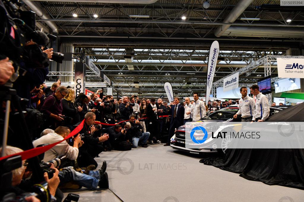 Autosport International Exhibition. National Exhibition Centre, Birmingham, UK. Thursday 11th January 2017. Malcolm Wilson, Sebastien Ogier and Elfyn Evans from M-Sport Ford gather at the WRC season launch.World Copyright: Mark Sutton/Sutton Images/LAT Images Ref: DSC_7260