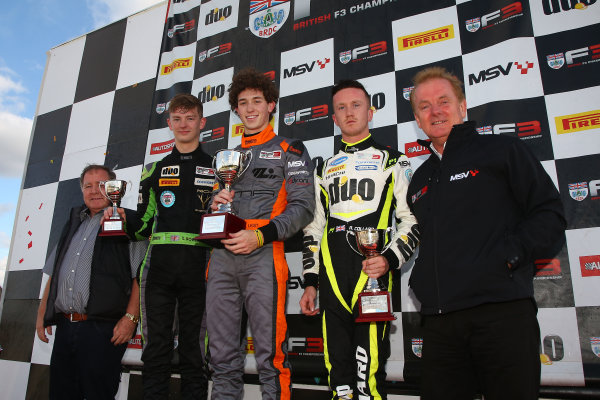 2016 BRDC F3 Championship, Donington Park, Leicestershire. 10th - 11th September 2016. Championship Podium (l-r) Toby Sowery (GBR) Lanan Racing BRDC F3, Matheus Leist (BRA) Double R Racing BRDC F3, Ricky Collard (GBR) Carlin BRDC F3. World Copyright: Ebrey / LAT Photographic.