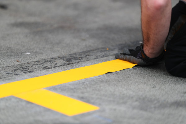 Albert Park, Melbourne, Australia. Wednesday 22 March 2017. Pit stop markings applied to the ground World Copyright: Sam Bloxham/LAT Images ref: Digital Image AJ6I0017