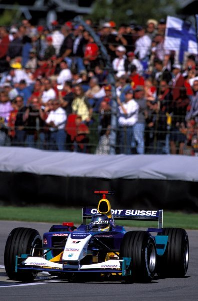 Heinz-Harald Frentzen (GER), Sauber Petronas C22, finished the race in third place. United States Grand Prix, Rd15, Indianapolis Motor Speedway, Indianapolis, USA. 28 September 2003. BEST IMAGE