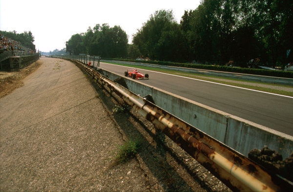 Monza, Italy.5-7 September 1997.The Banking of the old Monza circuit which still remains, with Michael Schumacher passing by towards the Rettifilo.Ref-97 ITA 07.World Copyright - LAT Photographic