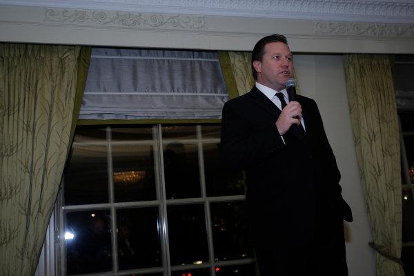 2013 Autosport Awards. Grosvenor House Hotel, Park Lane, London. Sunday 1st December 2013. Zak Brown of Just Marketing International gives a presentation World Copyright: Sam Bloxham/LAT Photographic. ref: Digital Image _LOX6196