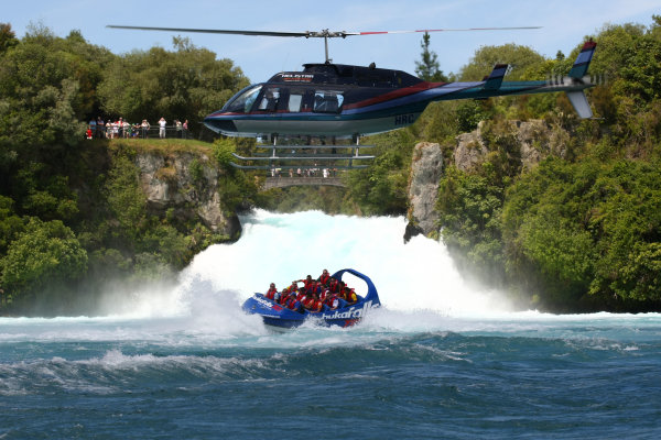 22.01 2009 Taupo, New Zealand, A1GP Drivers with a helicopter - Hukafalls jet boat ride - A1GP World Cup of Motorsport 2008/09, Round 4, Taupo, Thursday - Copyright A1GP - Free for editorial usage