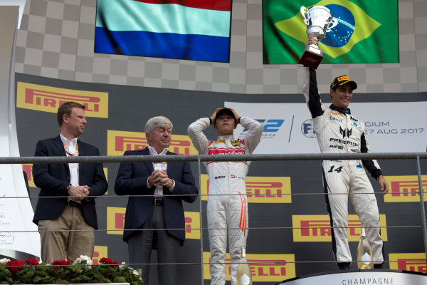 2017 FIA Formula 2 Round 8. Spa-Francorchamps, Spa, Belgium. Sunday 27 August 2017. Sergio Sette Camara (BRA, MP Motorsport) celebrates his victory on the podium with Nyck De Vries (NED, Racing Engineering) and Luca Ghiotto (ITA, RUSSIAN TIME).  Photo: Alastair Staley/FIA Formula 2. ref: Digital Image _L5R6043