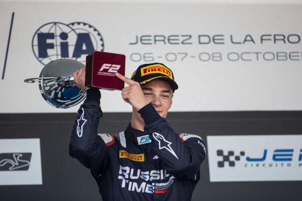 2017 FIA Formula 2 Round 10. Circuito de Jerez, Jerez, Spain. Sunday 8 October 2017. Artem Markelov (RUS, RUSSIAN TIME) on the podium. Photo: Andrew Ferraro/FIA Formula 2. ref: Digital Image _FER3706