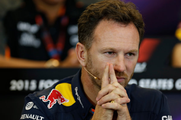 Circuit of the Americas, Austin, Texas, United States of America.  Friday 23 October 2015. Christian Horner, Team Principal, Red Bull Racing, in the Team Principal Press Conference. World Copyright: Andrew Ferraro/LAT Photographic ref: Digital Image _FER6373