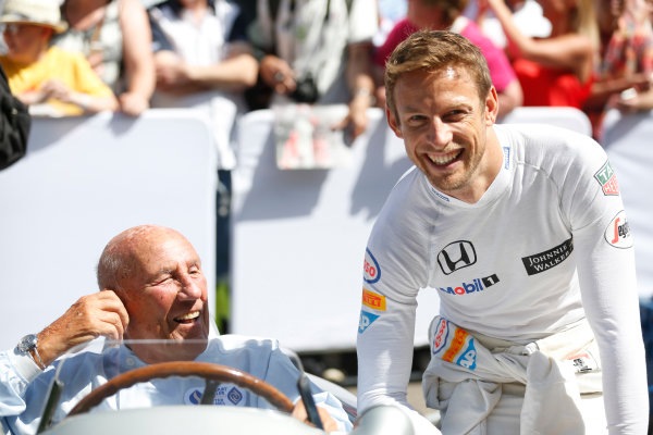 2015 Goodwood Festival of Speed Goodwood Estate, West Sussex, England. 25th - 28th June 2015. Jenson Button and Stirling Moss. World Copyright: Alastair Staley/LAT Photographic ref: Digital Image_R6T9230