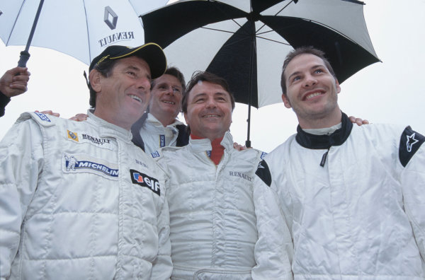 2004 Festival of Speed, Goodwood, England.25th-27th June 2004.Left-to-right: Jean Ragnotti, Jean-Pierre Jabouille, Rene Arnoux and Jacques Villeneuve.World Copyright LAT Photographic.ref: 35mm image