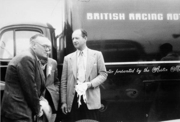 1951 British Grand Prix.Silverstone, Great Britain. 14 July 1951.Raymond Mays with the BRM transporter. Ref-4217B #27.World Copyright - LAT Photographic