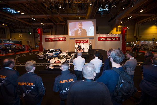 Autosport International Exhibition. National Exhibition Centre, Birmingham, UK. Thursday 8 January 2015. Malcolm Wilson, Elfyn Evans and Sander Pam on the Autosport stage. World Copyright: Malcolm Griffiths/LAT Photographic. ref: Digital Image F80P1623