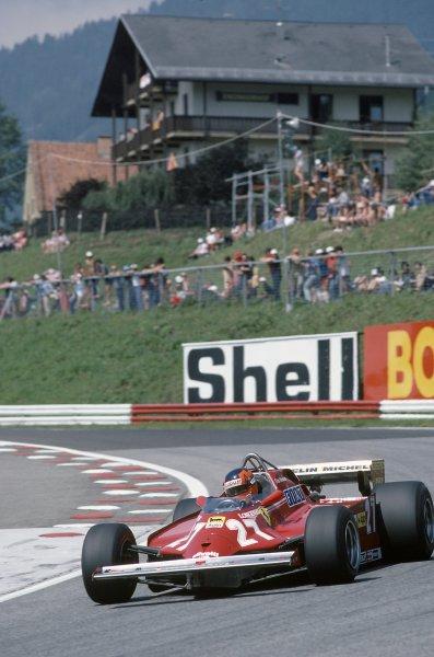 1981 Austrian Grand Prix.Osterreichring, Austria. 14-16 August 1981.Gilles Villeneuve (Ferrari 126CK), retired.World Copyright: LAT PhotographicRef: 35mm transparency 81AUT29